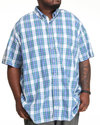 Men Mini Plaid Button Down (B&T) Blue 2X