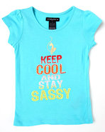 Girls Keep Calm & Sassy Tee (4-6X) Light Blue 5/6