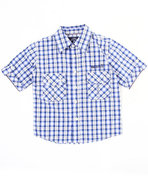 Boys Plaid Woven Shirt (4-7) Blue 7