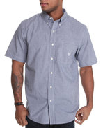 Men South Sea S/S Gingham Shirt Blue Large