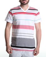 Men Thin Stripe V-Neck Tee Red X-Large