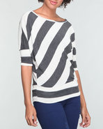 Women Stripe Dolman Top Grey Small