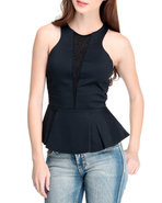 Women Peplum Top Black Small