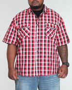 Men Tri Color Gingham Shirt (B&T) Red 3X