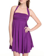 Women Halter Sun Dress Purple Medium
