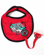 Boys Bib &amp; Pacifier (Newborn) Red