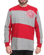 Men Long Sleeve Slant Stripe Thermal Red Xx-Large