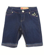 Girls Embroidered Pocket Denim Bermuda Shorts (7-1