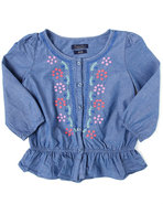 Girls Chambray Blouse (7-16) Medium Wash 8/10 (M)