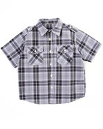 Boys Basic Plaid Woven Shirt (4-7) Black 7