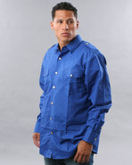 Men Military Woven Shirt Blue X-Large