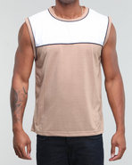 Men Sleeveless Top Khaki Medium