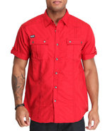 Mo7 Men Poplin Thick Stitch Button Down Shirt Red