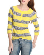 Women Lace Detail Stripe Jersey W/ 3/4 Sleeve Grey