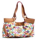 Women Rainbow Apple Core Tote White