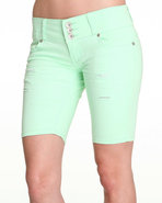 Women 3 Button Bermuda Jean Short Green 13/14