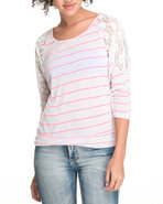 Women Honey Cup Basic 3/4 Sleeve Tee Pink Large