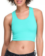 Women Seamless H-Back Crop Top Blue Small/Medium
