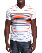 Men V-Neck Stripe Engineered Tee White Xx-Large