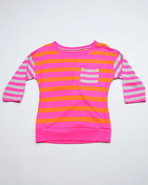 Girls Boat Neck Stripe 3/4 Sleeve Top (Big Girls)
