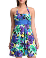 Women Floral Halter Top Spring Dress Blue 3/4