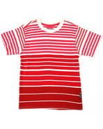 Boys Y/D Stripe Crew Neck Tee (4-7) Red 4 (S)
