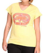 Women V-Neck Tee (Plus) Yellow 1X