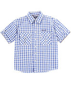 Boys Plaid Woven Shirt (8-20) Blue Medium