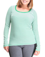 Women Active Basic L/S Scoop Neck Stipe Plus Top G