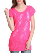 Women Open Weave Tunic Pink Small