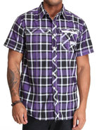 Mo7 Men S/s Plaid Button Down Shirt W/ Twill Trim
