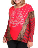 Women Mixed Fabric Printed Stripe Dolman Top (Plus