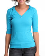 Women Ribbed Hoodie Henley Blue Medium