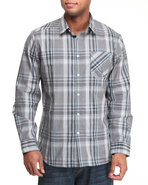 Men Ex Factor Plaid L/S Button-Down Grey Medium