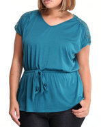 Women Short Sleeve Lace Detail Top W/Drawstring Bl