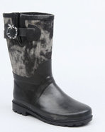 Girls Apple Buckle Denim Trim Rainboot Black 11