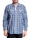Men Alaska Plaid Button-Down Shirt Blue Large