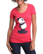 Lrg Women Pucky Panda Scoop Neck Tee Red Large