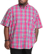 Men Ossabow S/S Plaid Shirt (B&T) Red 4X-Large