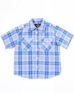 Boys Basic Plaid Woven Shirt (4-7) Blue 7