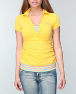 Women 2-Fer Polo Yellow Large
