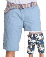 Men Reversible Camo Cargo Shorts Blue 32
