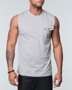 Mo7 Men Sleeveless Knit Shirts W/ Chest Patch Pock