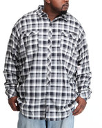Men L/S Herringbone Check Button-Down (B&T) Black