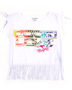 Coogi Girls Boat Neck Fringe Tee (7-16) White 8/10