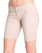 Women 3 Button Bermuda Jean Short Cream 7/8