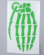 Men Skeleton Grenade 9  Die Cut Sticker Green