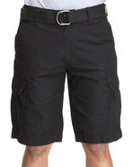 Men Poplin Cargo Short Black 30