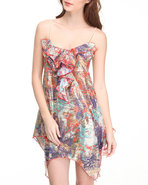 Women Asymmetrical Hem Printed Babydoll Dress Mult