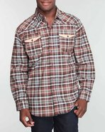 Mo7 Men Buffalo Plaid Shirt Brown X-Large